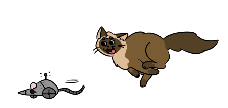 Cat running after robot mouse toy drawing